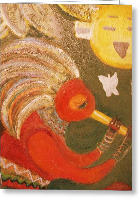 Happy Sun And Kokopelli With Feathers Greeting Card by Anne-Elizabeth Whiteway