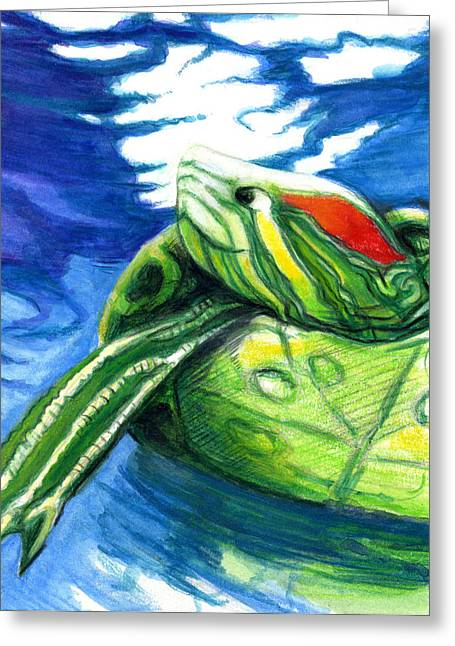 Happy Turtle Greeting Card by Rene Capone