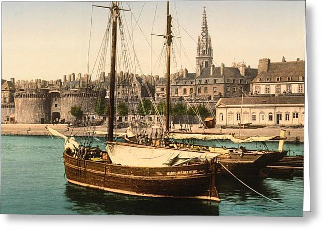Harbor At St. Malo Greeting Card by Padre Art