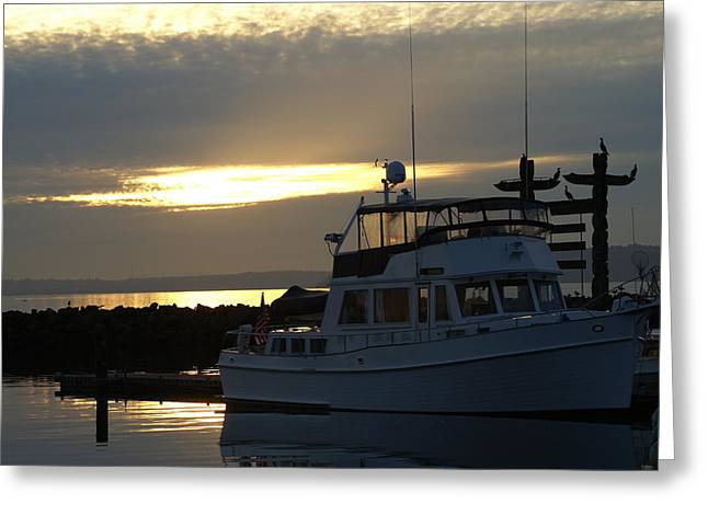 Greeting Card featuring the photograph Harbor At Sunset by Jerry Cahill