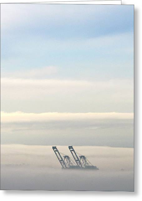Greeting Card featuring the photograph Harbor Cranes In Fog by Sean Griffin