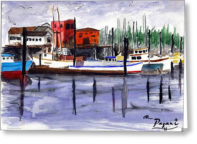 Harbor Fishing Boats Greeting Card