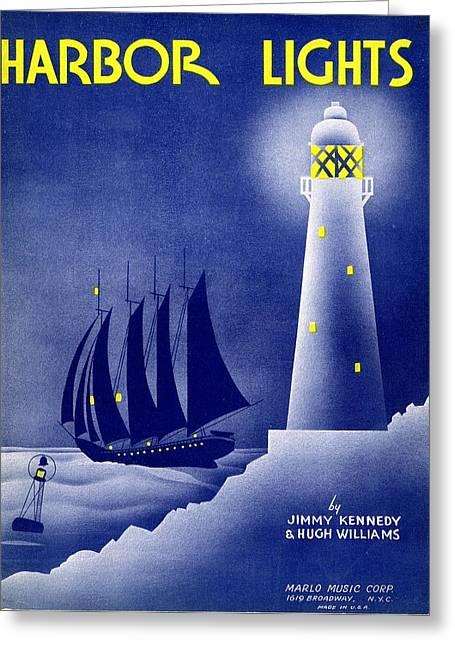 Harbor Lights Greeting Card by Mel Thompson
