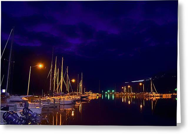 Greeting Card featuring the photograph Harbor Nights by Kelly Reber
