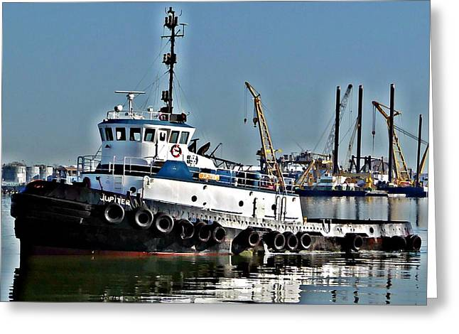 Greeting Card featuring the photograph Harbor Tug by John Collins