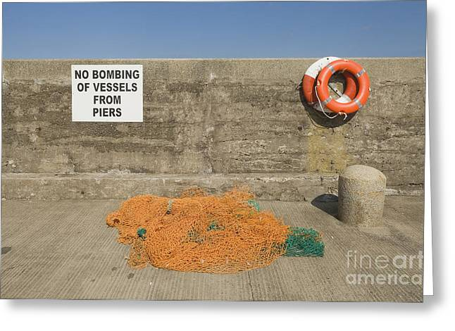 Harbor With Netting And Live Preservers Greeting Card by Iain Sarjeant