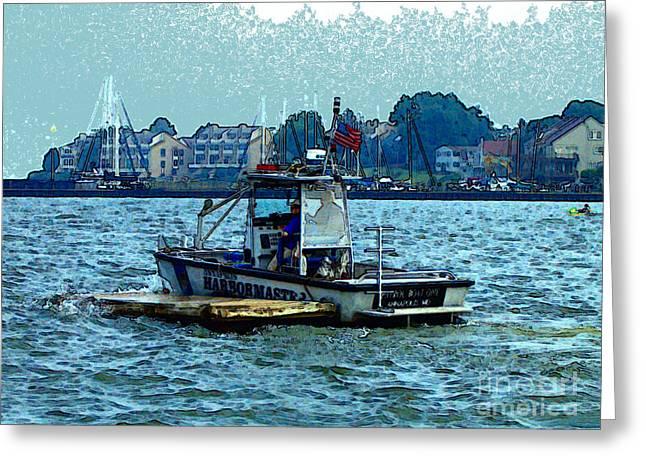 Harbormaster Greeting Card by Elinor Mavor