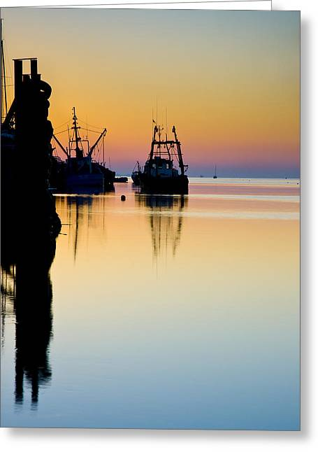 Greeting Card featuring the photograph Harbour Sunrise by Trevor Chriss