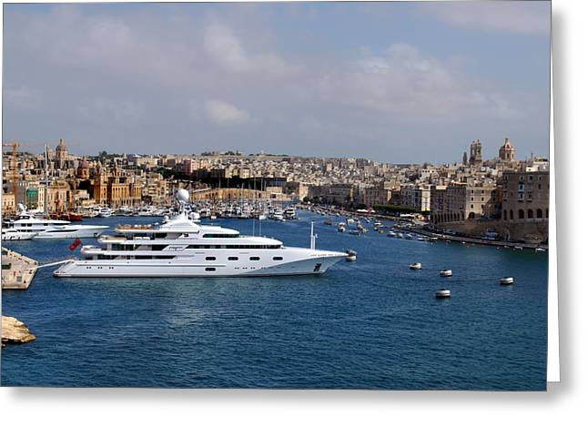 Harbour Valletta. Greeting Card by Terence Davis