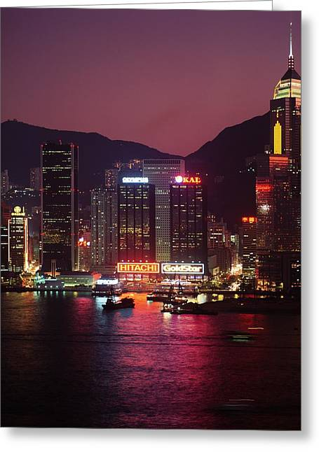 Harbour View At Night Greeting Card by Axiom Photographic