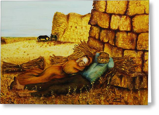 Hard Labor Fatigue Greeting Card by Itzhak Richter