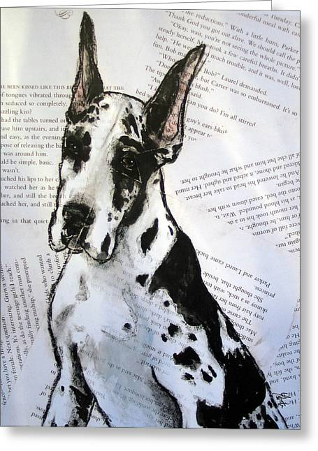 Harlequin Romance Puppy Greeting Card by Christas Designs