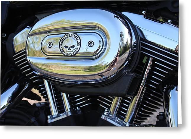 Harley Chrome Greeting Card by Christean Ramage