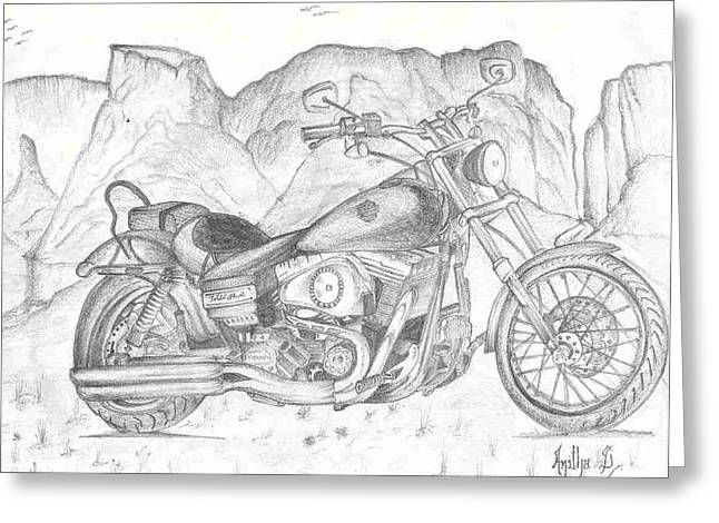 Harley Davidson Bike Greeting Card
