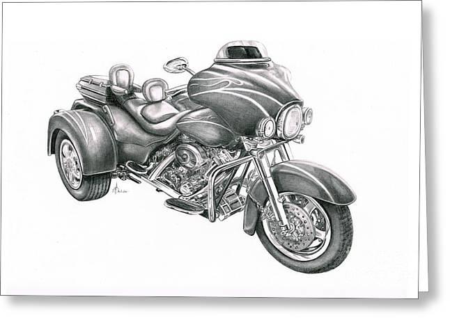 Harley Davidson Trike Greeting Card by Murphy Elliott