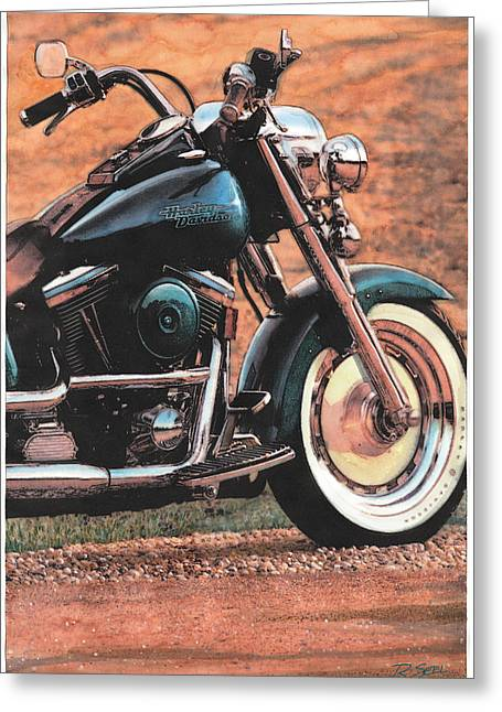Harley Softtail Greeting Card