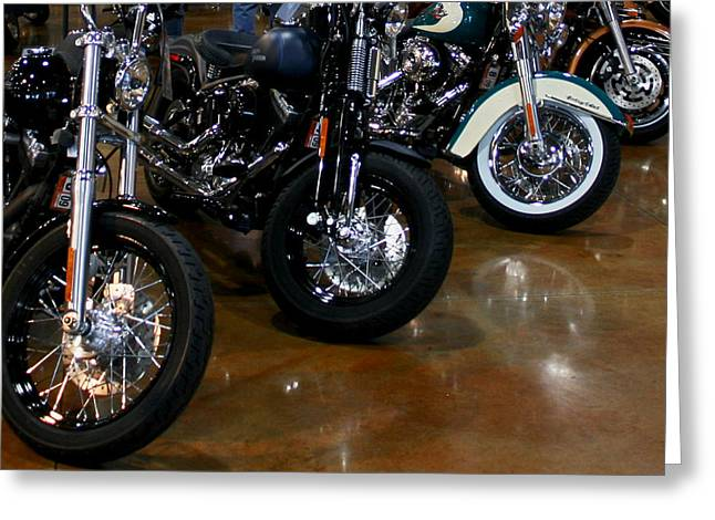 Greeting Card featuring the photograph Harley Wheels by Karen Harrison