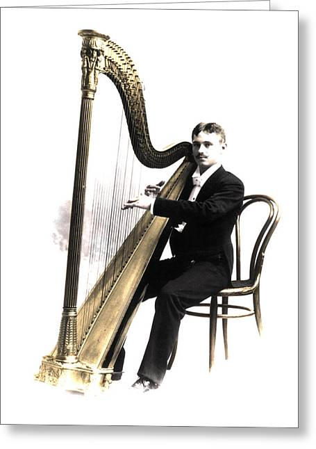 Harp Player Greeting Card by Andrew Fare