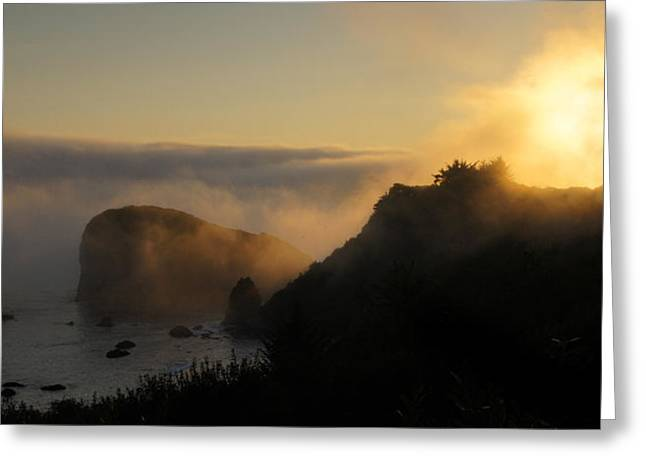 Harris Beach Sunset Panorama Greeting Card