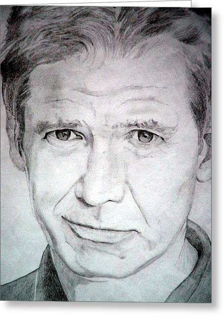 Harrison Ford - Medium Greeting Card by Robert Lance