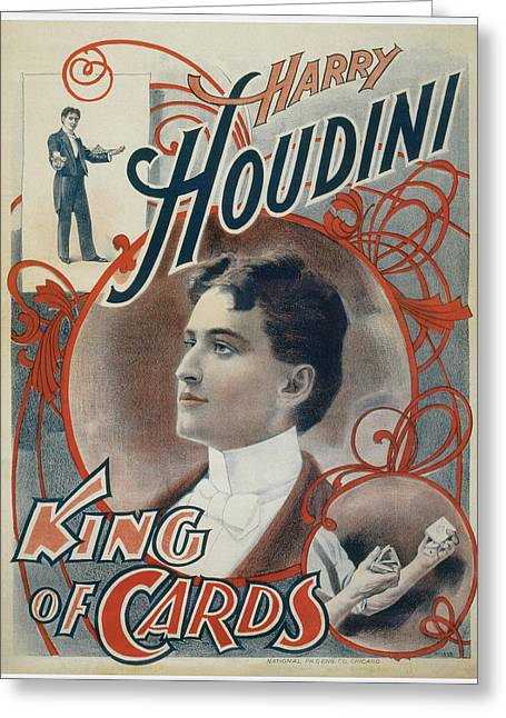 Harry Houdini King Of Cards Greeting Card by Unknown
