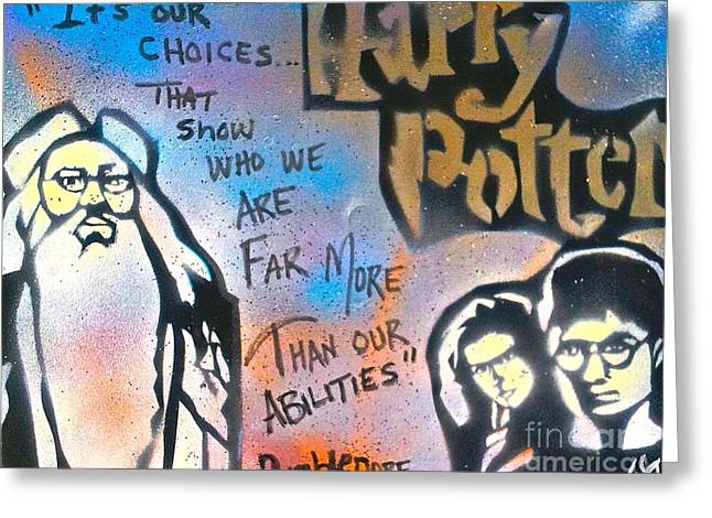 Harry Potter And  Dumbledore Greeting Card by Tony B Conscious