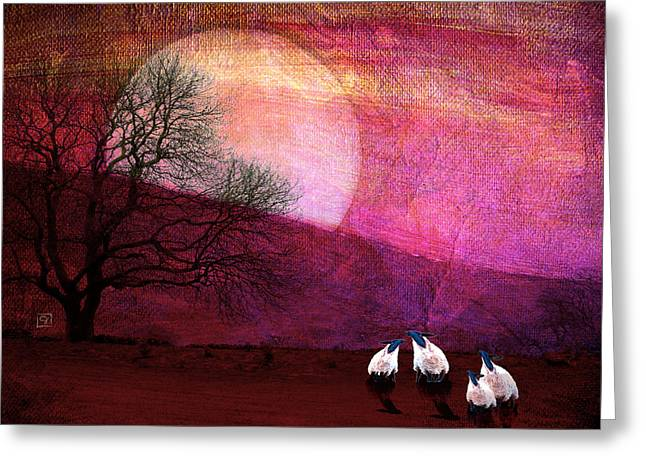 Greeting Card featuring the digital art Harvest Moon Sheep by Jean Moore