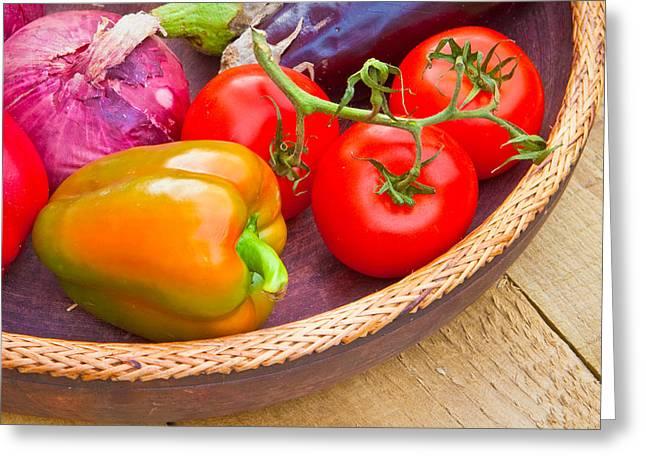 Harvest Vegetables Greeting Card by Tom Gowanlock