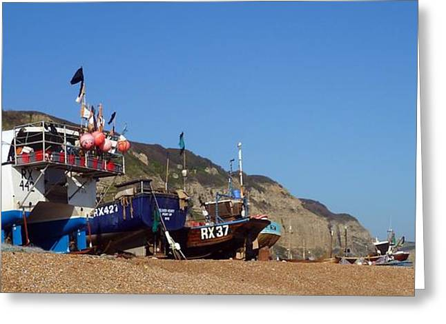 Hastings Fishing Fleet Greeting Card by Sharon Lisa Clarke
