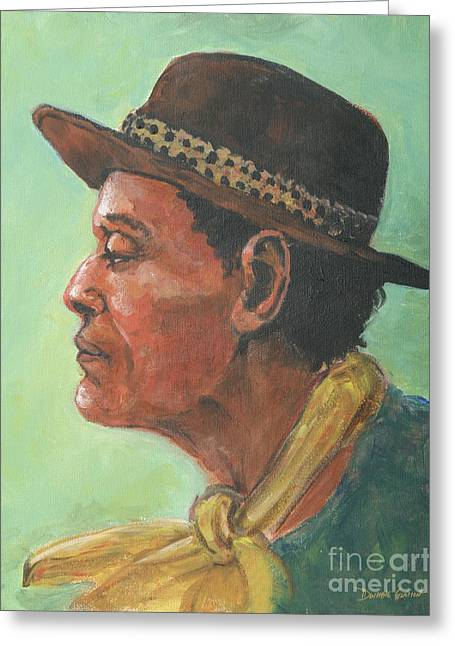 Greeting Card featuring the painting Hat And Yellow Scarf by Dwayne Glapion