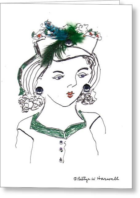 Hat Lady 10 Greeting Card by Bettye  Harwell