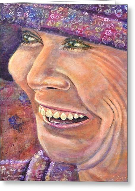 Hat Lady Greeting Card by Bob Rowell