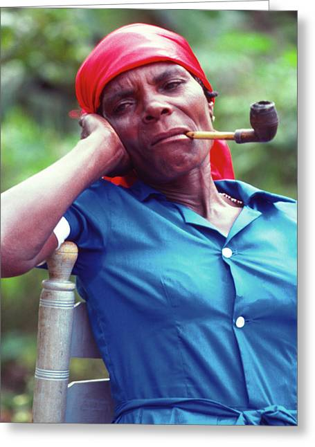 Hatian Woman With A Red Scarf And A Pipe Greeting Card