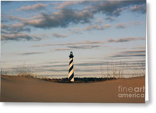 Greeting Card featuring the photograph Hatteras Lighthouse And The Smiling Dune by Tony Cooper