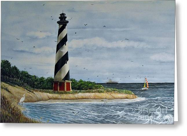 Hatteras Lighthouse Greeting Card by Sandy  Hurst