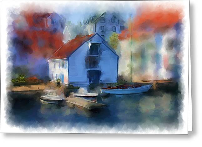 Haugesund Boat House Greeting Card by Michael Greenaway