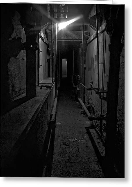 Haunted 1946 Battle Of Alcatraz Death Chamber Greeting Card by Daniel Hagerman