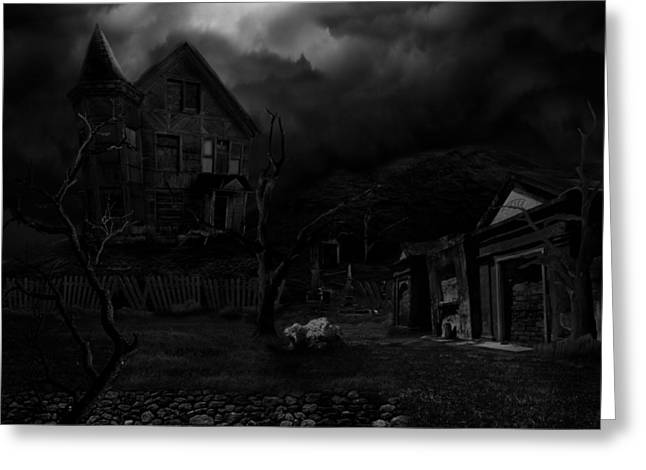 Haunted House II Greeting Card by Lisa Evans