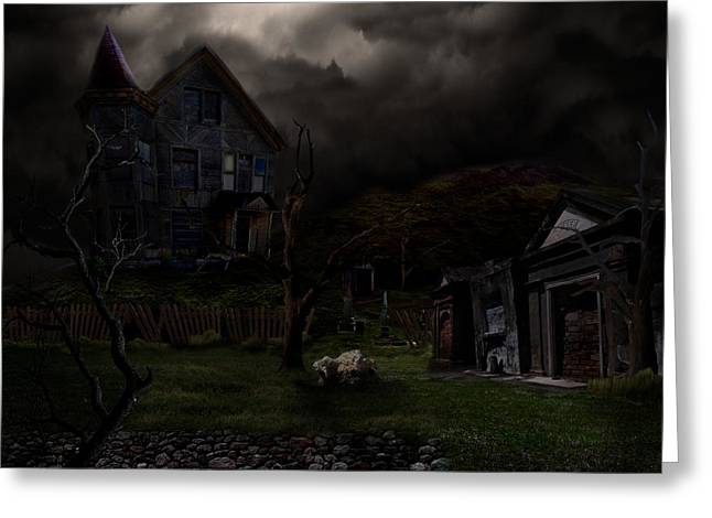 Haunted House Greeting Card by Lisa Evans