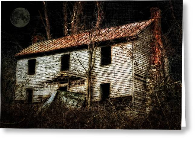 Haunted House On The Hill Greeting Card by Kathy Jennings