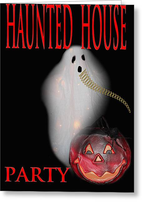 Haunted House Party Greeting Card by Debra     Vatalaro