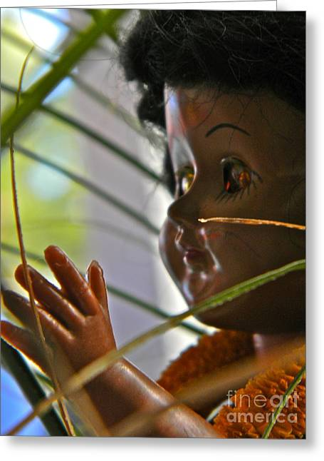 Hawaiian Doll Greeting Card by Anita V Bauer