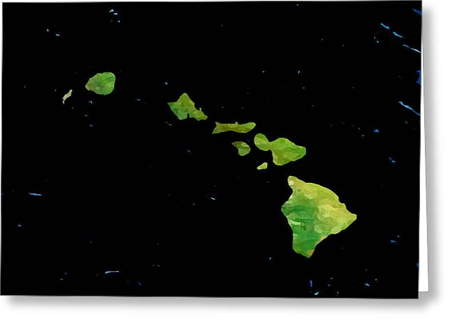 Hawaiian Islands Chain Greeting Card by Karen Nicholson