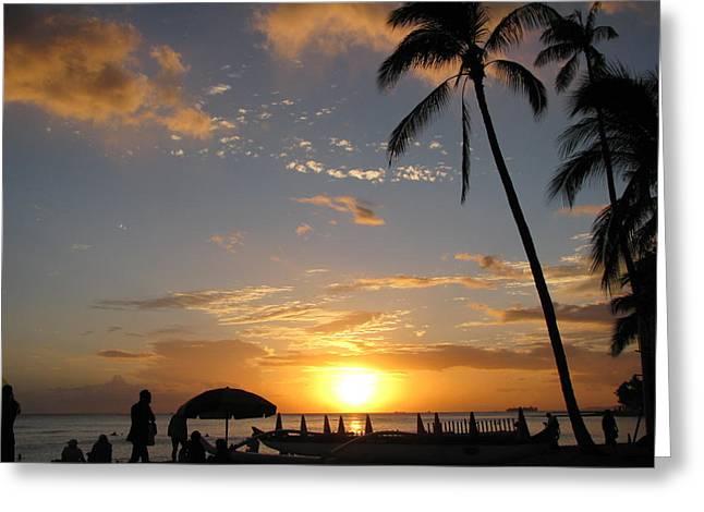 Hawaiian Sunset Greeting Card by Yula Sander
