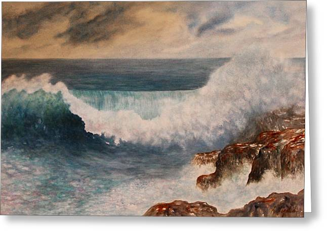Greeting Card featuring the painting Hawaiian Wave by Kerri Ligatich