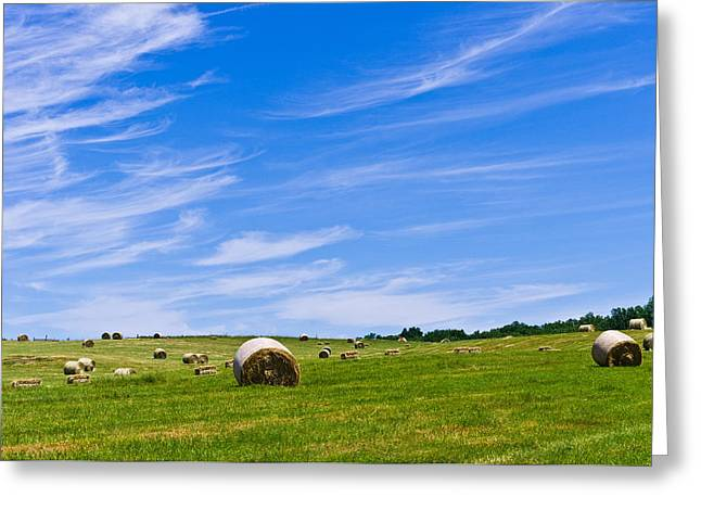 Hay Bales Under Brilliant Blue Sky Greeting Card