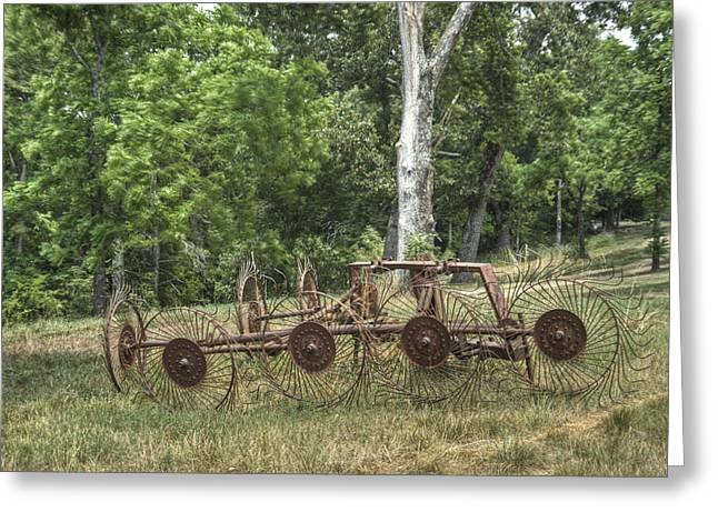 Hayrake Put Out To Pasture Greeting Card by Douglas Barnett