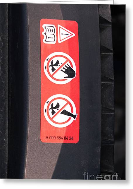Hazard Warning Sticker Greeting Card by Photo Researchers