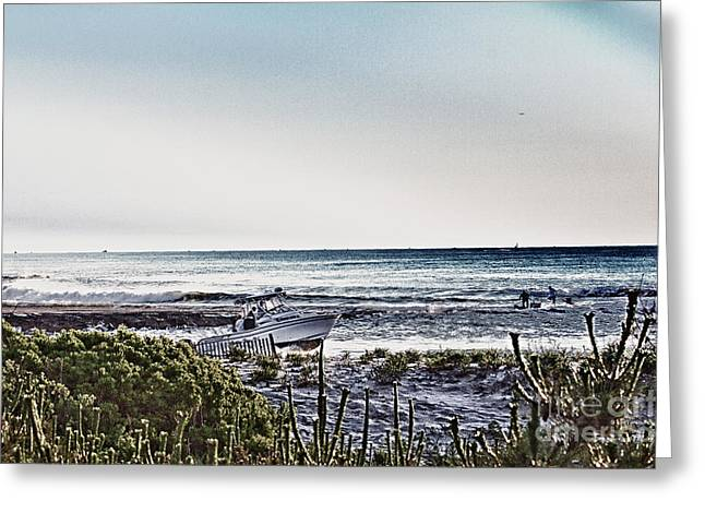 Hdr Boat Boats Beach Beaches Ocean Sea Photos Pictures Photography Photo Oceanview Seaview Picture Greeting Card by Pictures HDR