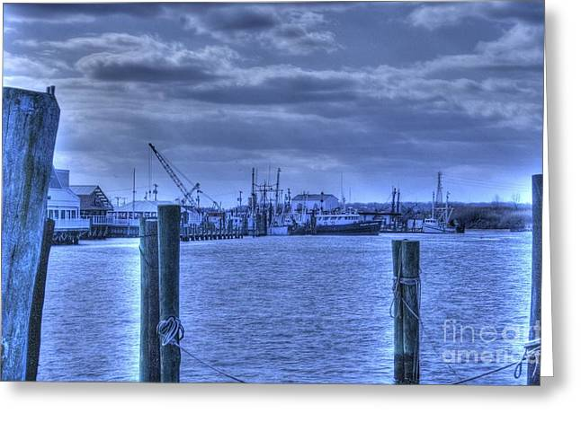 Hdr Fishing Boat Across The Jetty Greeting Card by Pictures HDR